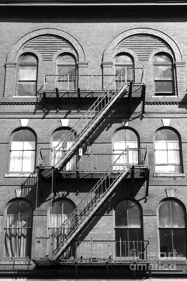 Windows And Fire Escapes Bangor Maine Architecture Photograph  - Windows And Fire Escapes Bangor Maine Architecture Fine Art Print