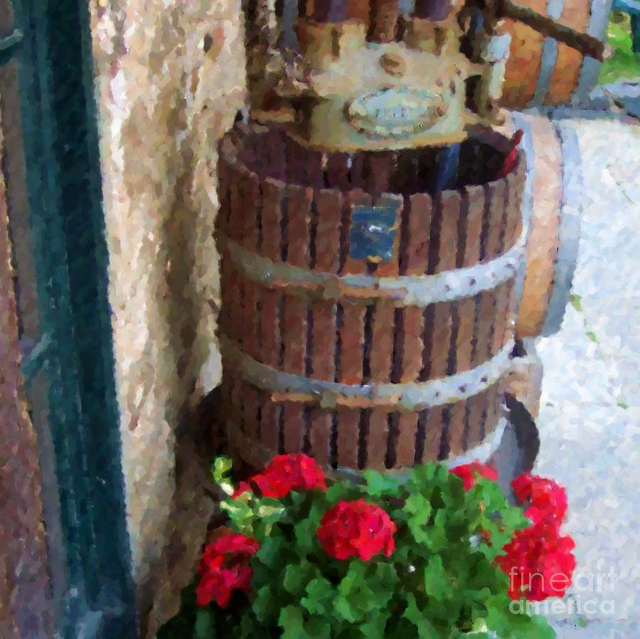 Wine And Geraniums Photograph  - Wine And Geraniums Fine Art Print
