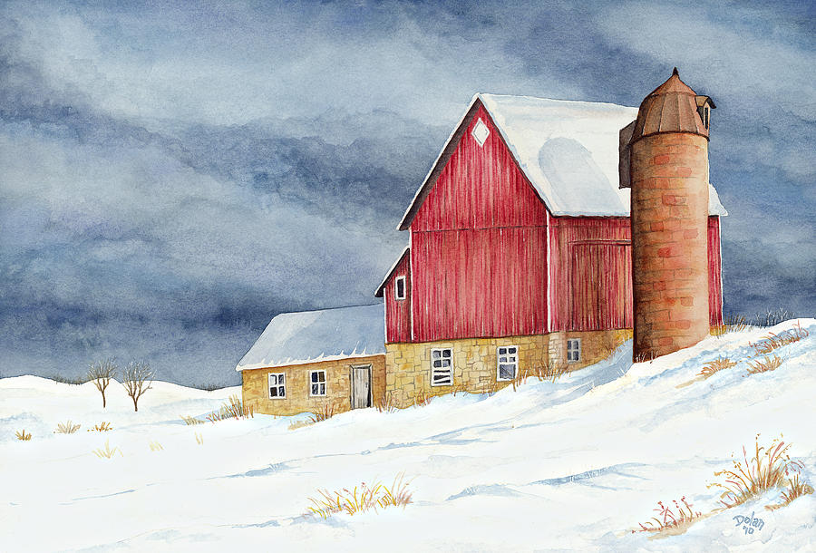 Winter barn painting by greg dolan for Watercolor barn paintings