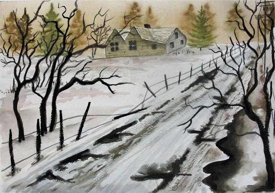 Winter Farmhouse Painting