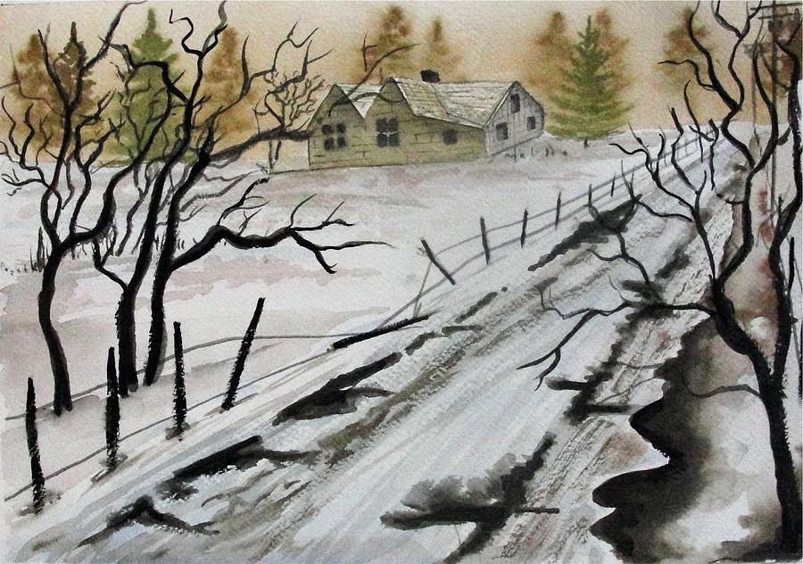 Winter Farmhouse Painting