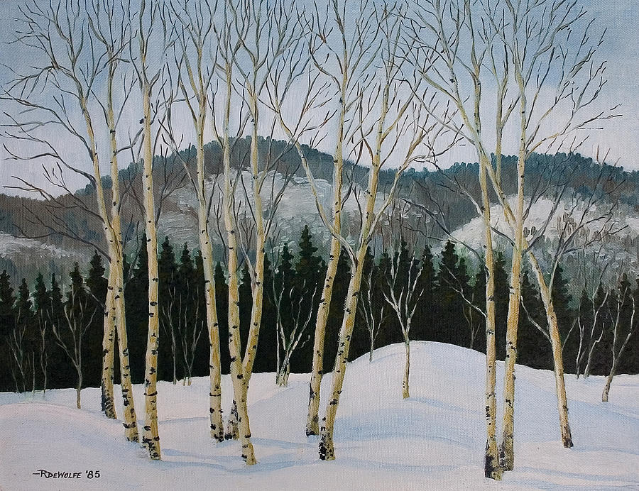Winter Poplars Painting