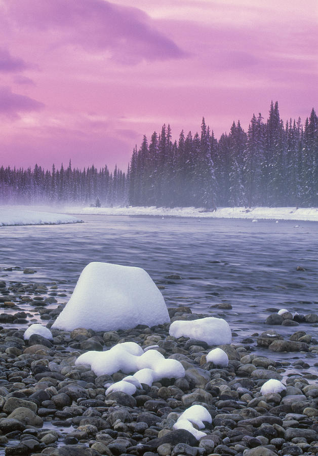 Winter Sunset On Bow River, Banff Photograph
