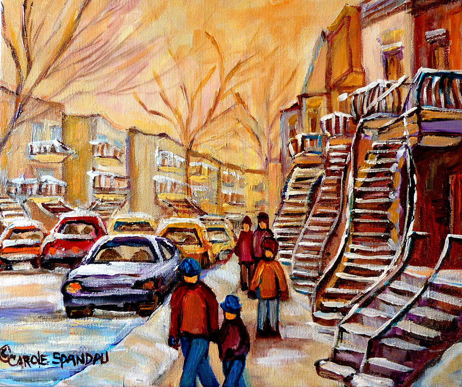 Winter Walk In Montreal Painting  - Winter Walk In Montreal Fine Art Print