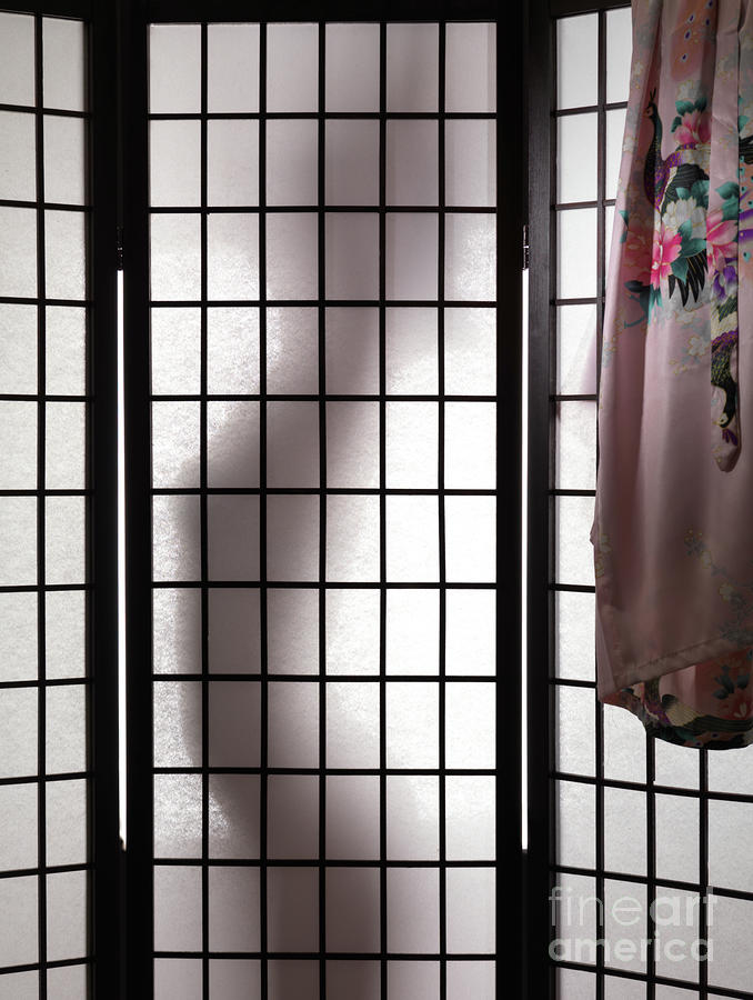 Woman Behind Shoji Screen Photograph  - Woman Behind Shoji Screen Fine Art Print