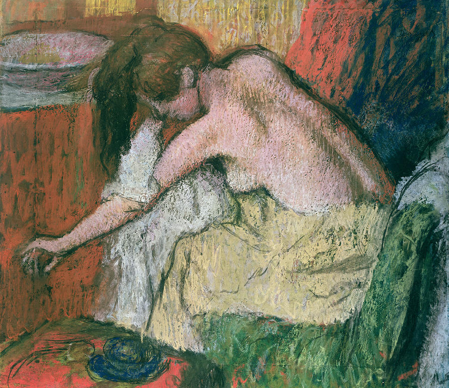 Woman Drying Herself Pastel