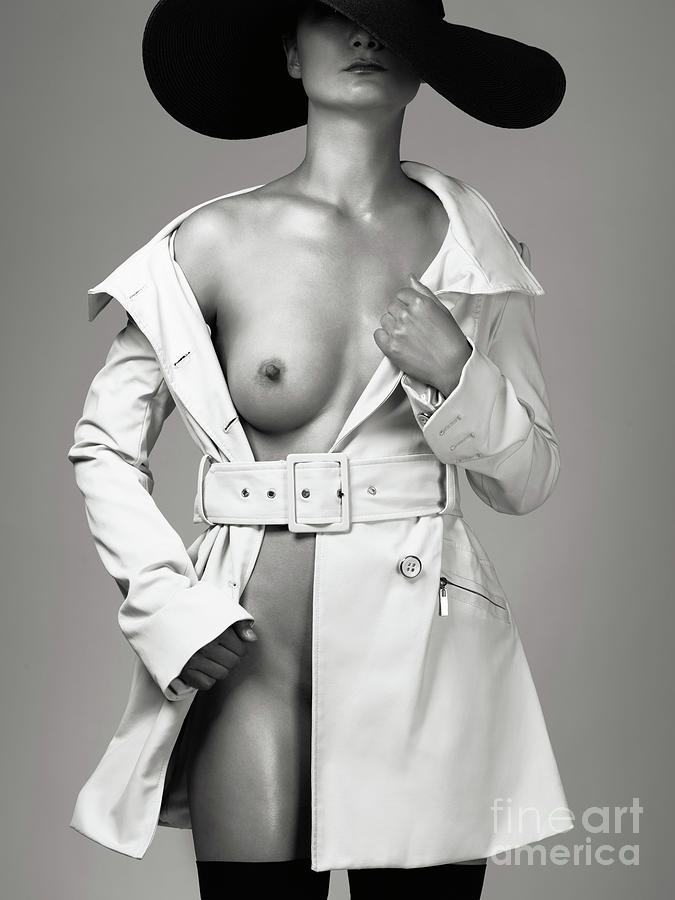 Woman Wearing Trench Coat Over Naked Body Photograph