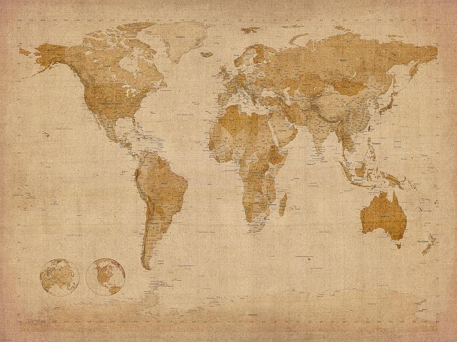 Large World Map Vintage