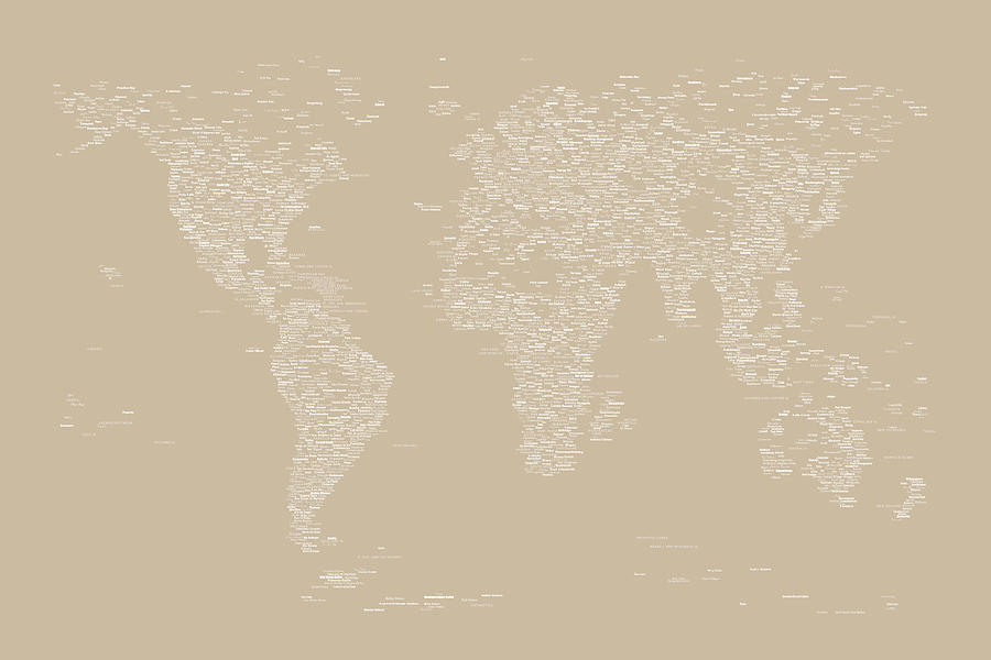 World Map Of Cities Digital Art  - World Map Of Cities Fine Art Print