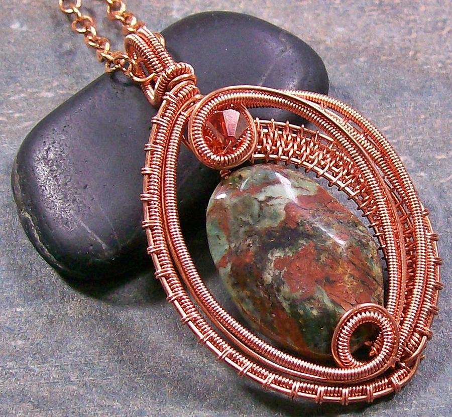 Woven Oval African Green Opal And Copper Pendant Jewelry