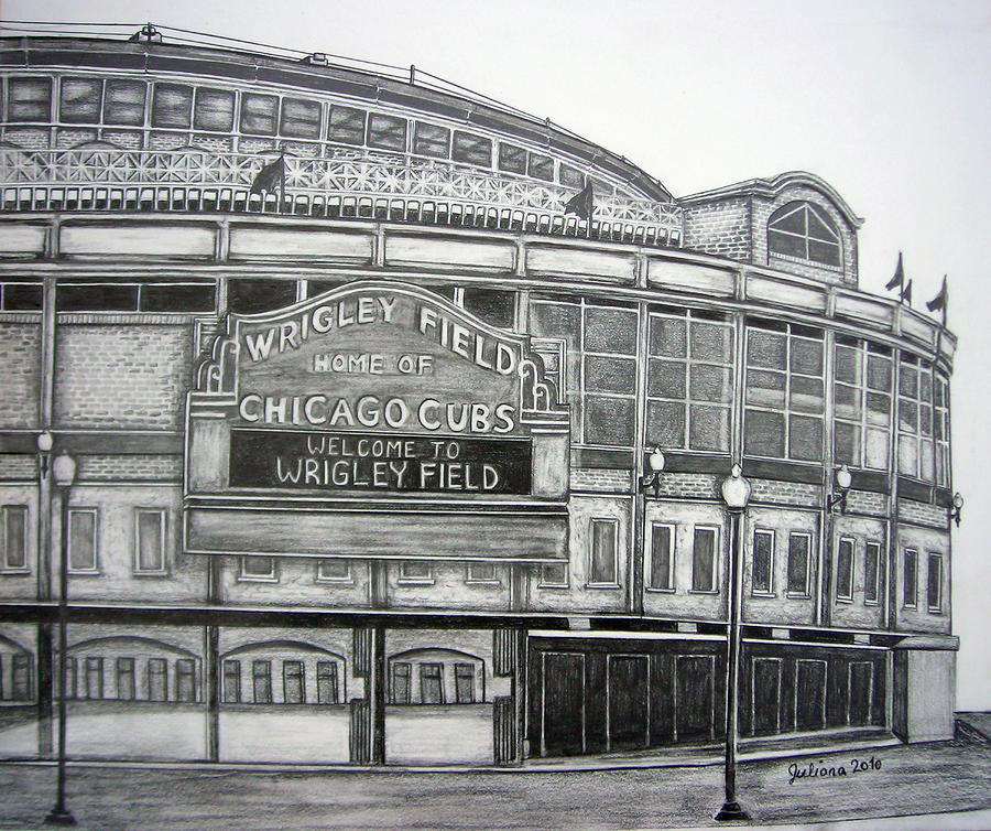 Wrigley Field Drawing  - Wrigley Field Fine Art Print