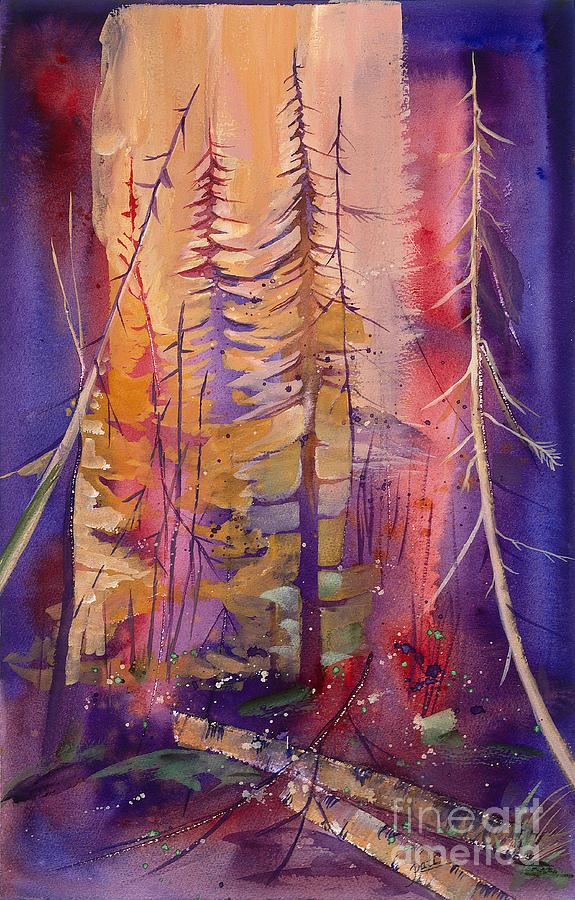 Purple And Pinks Fire Image Prints Painting - Yellowstone Fire by Pati Pelz