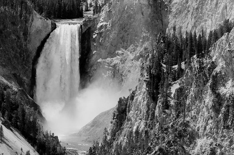 Yellowstone Waterfalls In Black And White Photograph