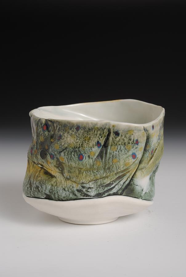Yunomi Tea Bowl  Hand Painted Brook Trout Tea Bowl Sculpture