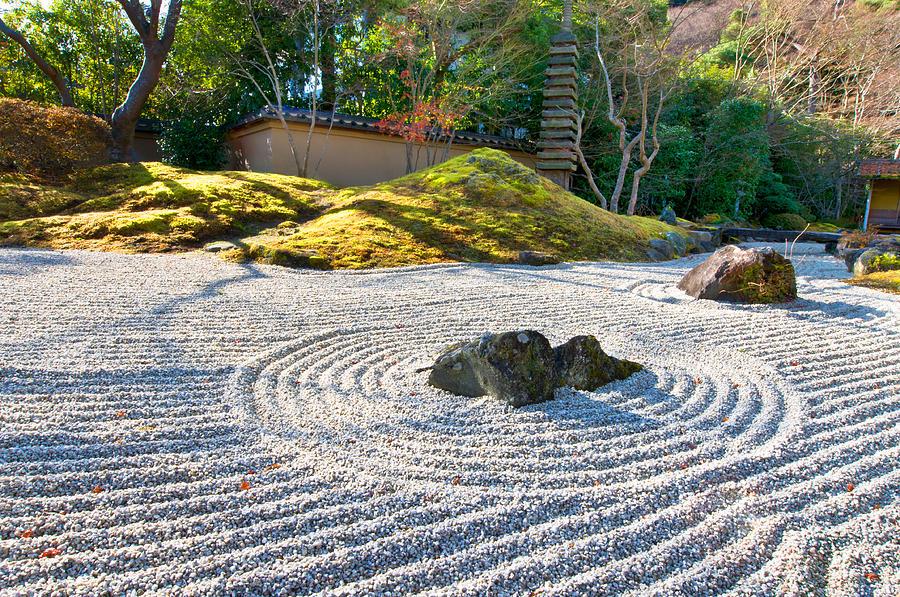 Zen garden at a sunny morning by ulrich schade - Jardin moderne zen villeurbanne ...