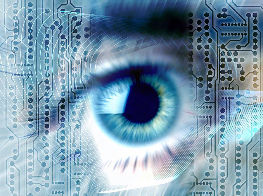 Printed Circuit Board Photograph - Biometric Eye Scan by Pasieka