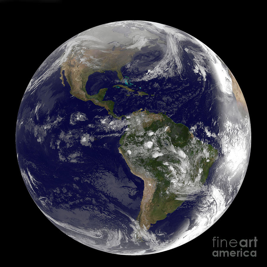 Full Earth Showing North America Photograph By Stocktrek