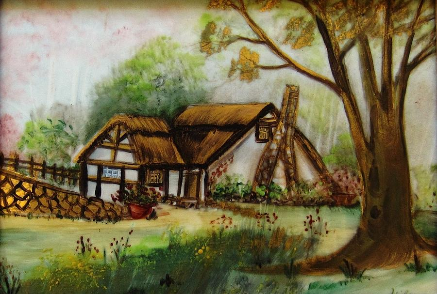 1128b Cottage Painted On Top Of Gold Ceramic Art