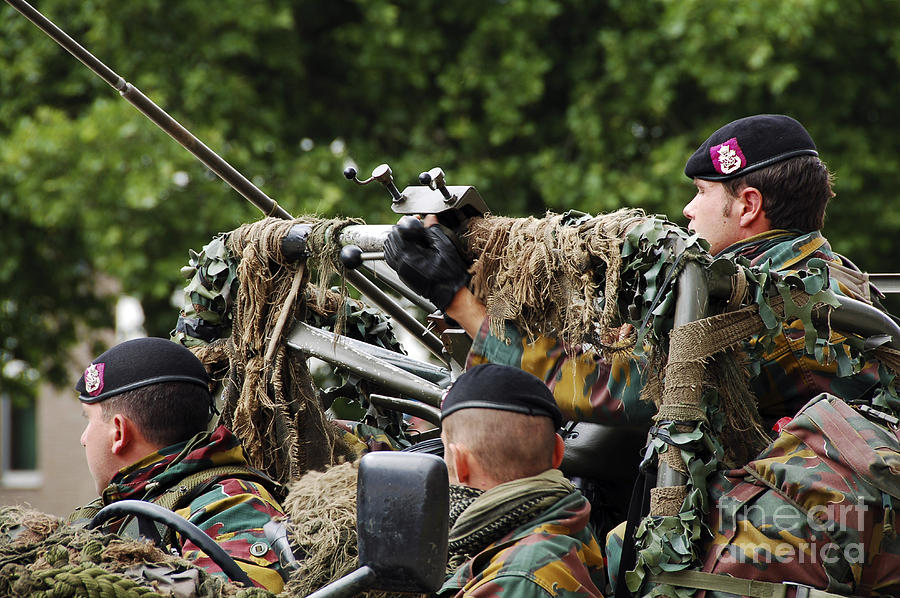 Action Photograph - A Recce Or Scout Team Of The Belgian by Luc De Jaeger