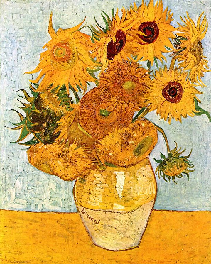 12 Sunflowers In A Vase Painting