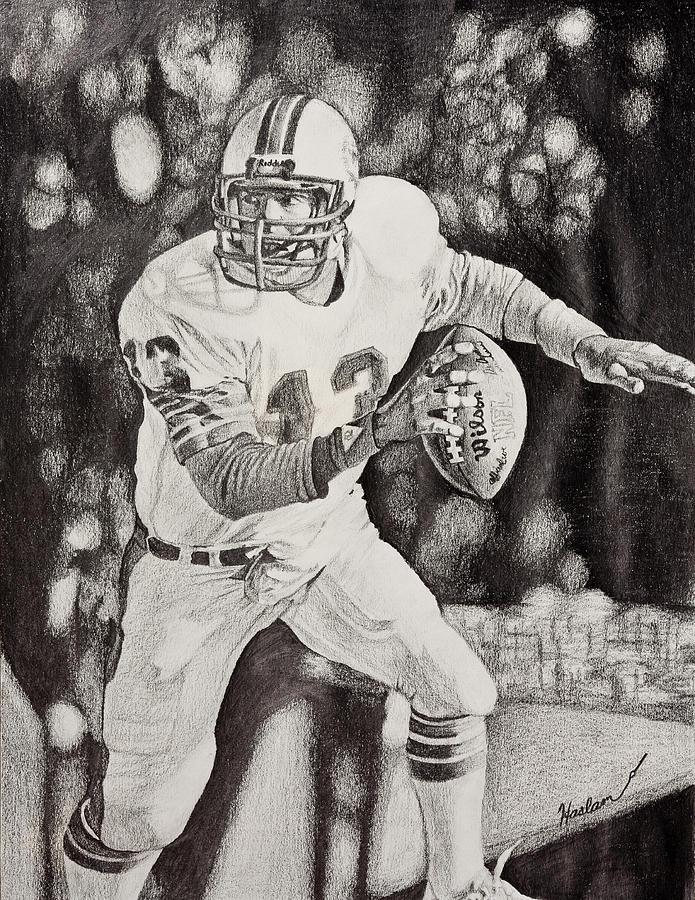 Dan Marino Drawing - 13 by Mike  Haslam