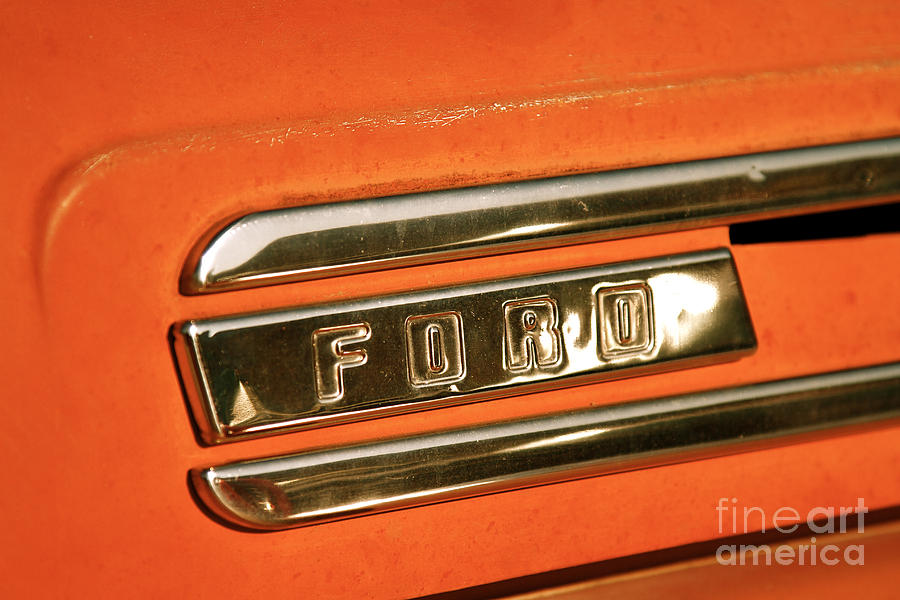 Rusted Antique Ford Car Brand Ornament Photograph  - Rusted Antique Ford Car Brand Ornament Fine Art Print