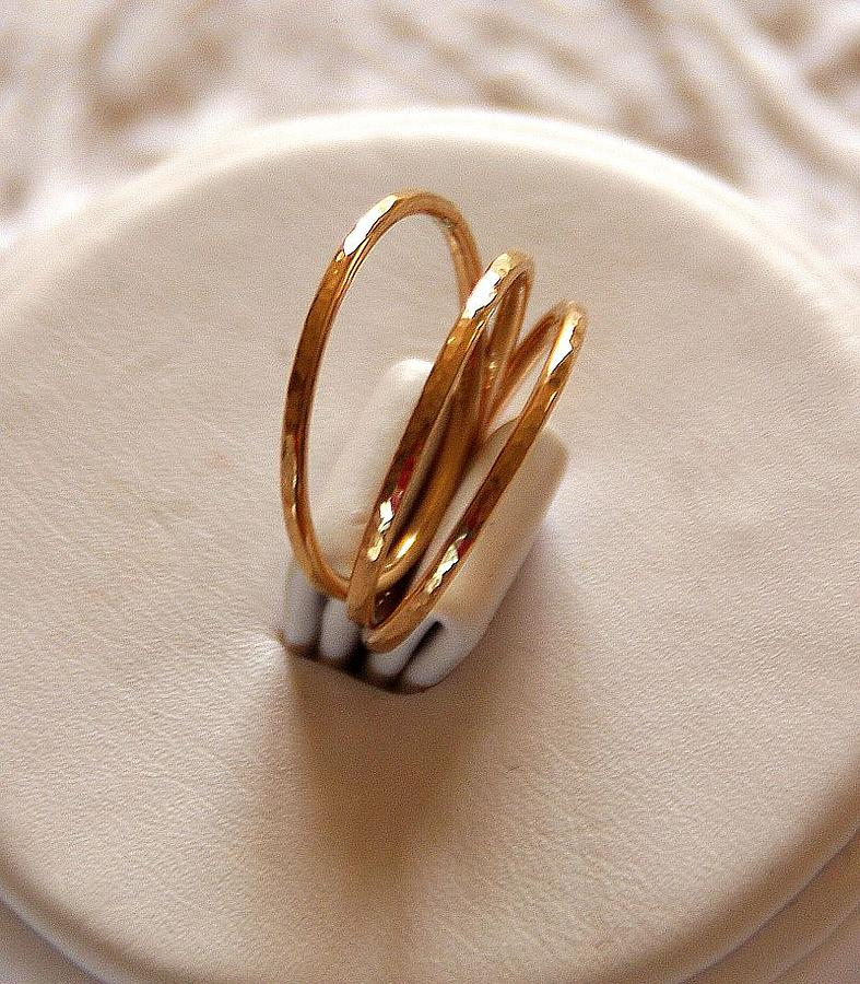 14k gold filled hammered stackable stacking rings or