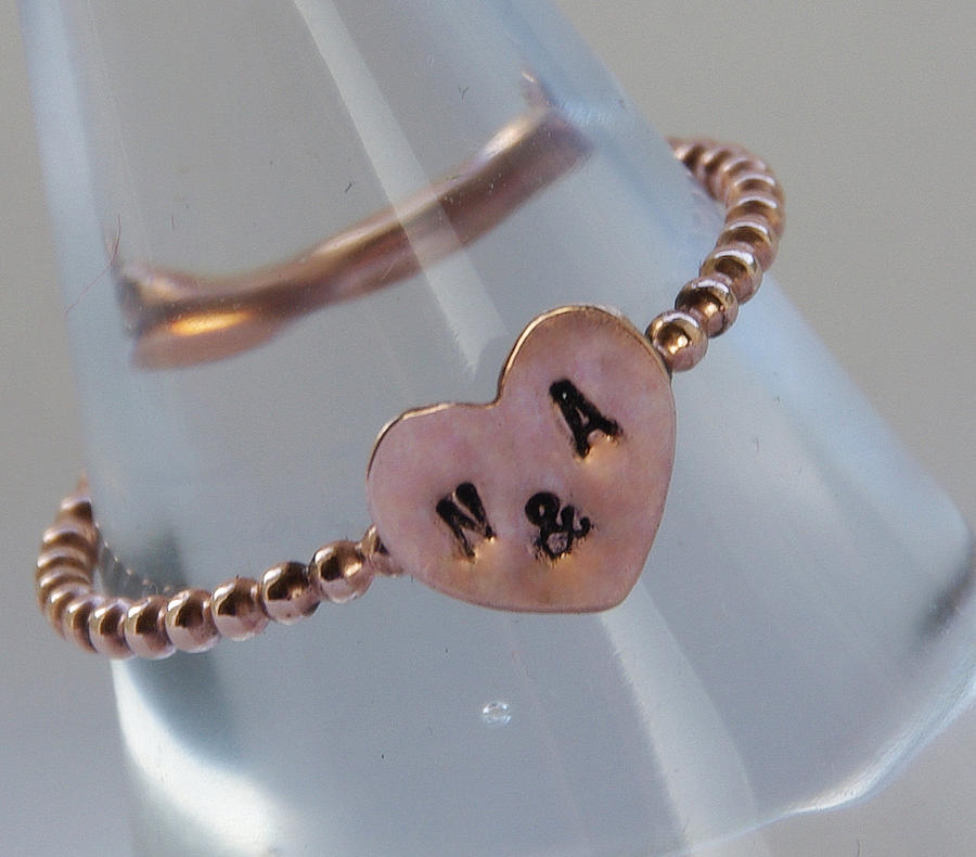 14k Rose Gf Personalized Sweetheart Stacking Ring- Initial  Heart Ring- Stamped With Your Initials- Jewelry