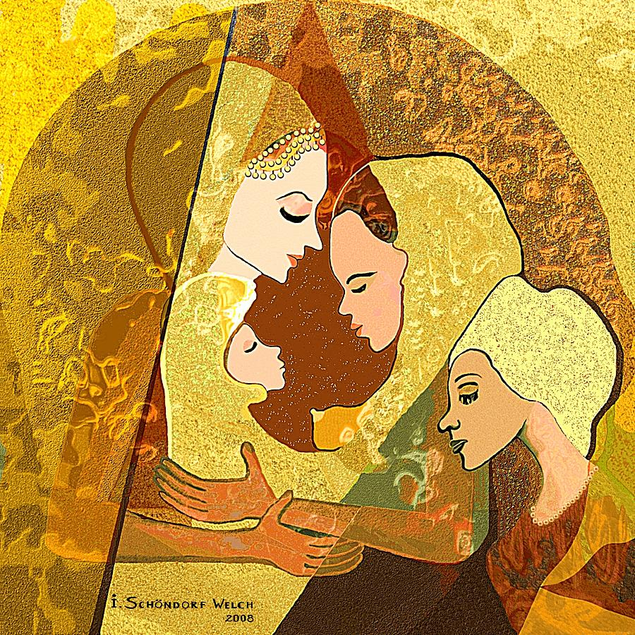 157 - Three Women And A Child Digital Art  - 157 - Three Women And A Child Fine Art Print