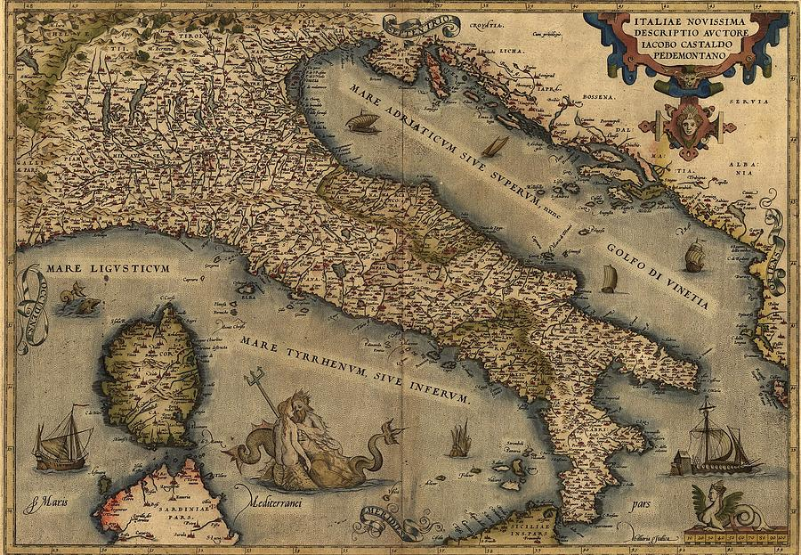1570 Map Of Italy  From Abraham Photograph  - 1570 Map Of Italy  From Abraham Fine Art Print