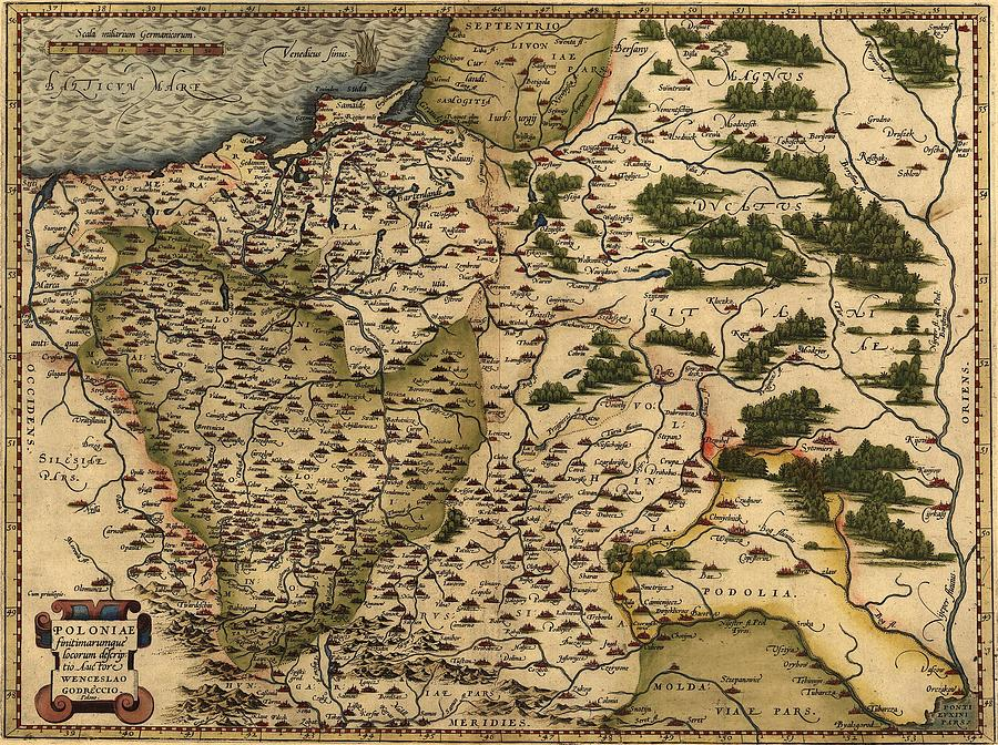 1570 Map Of  Poland. Polands Political Photograph