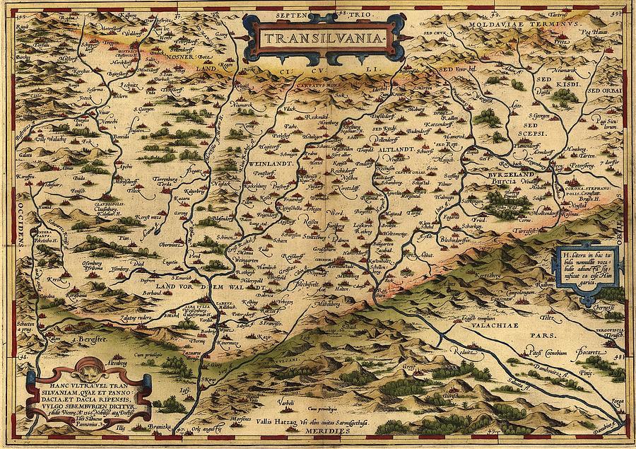 1570 Map Of Transylvania, Now Photograph