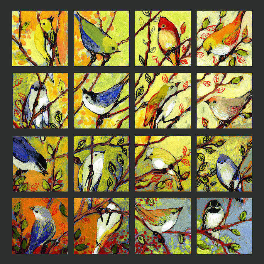 16 Birds Painting  - 16 Birds Fine Art Print