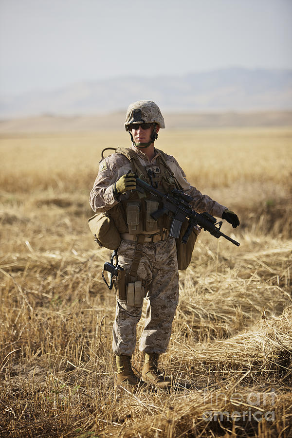 Field Photograph - U.s. Marine Patrols A Wadi Near Kunduz by Terry Moore