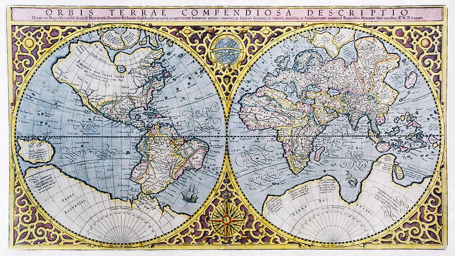 16th Century World Map Photograph  - 16th Century World Map Fine Art Print