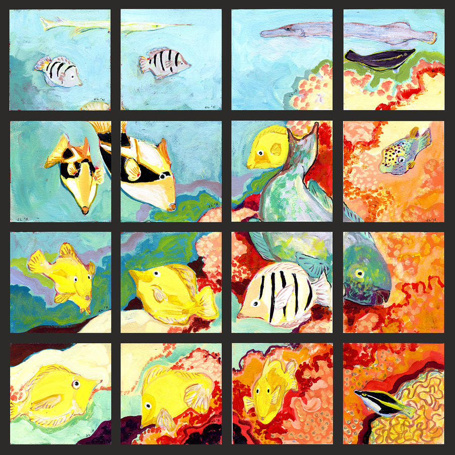 17 Fish Painting  - 17 Fish Fine Art Print