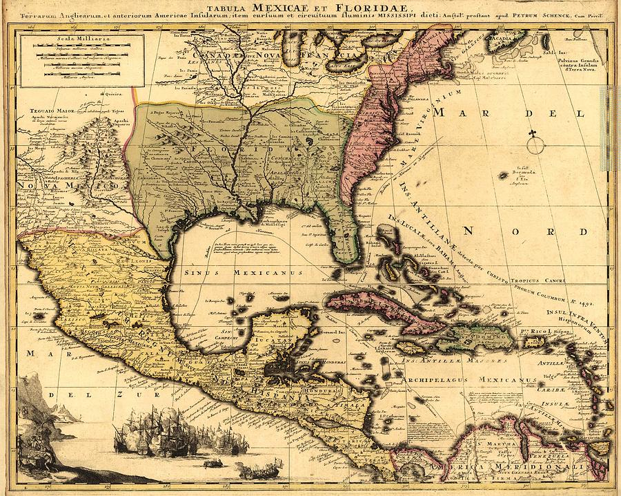 1710 Dutch Map Of North America Photograph