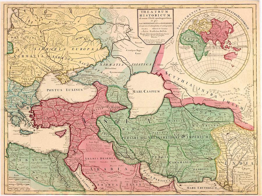 1712 French Map Of Southwest Asia Photograph