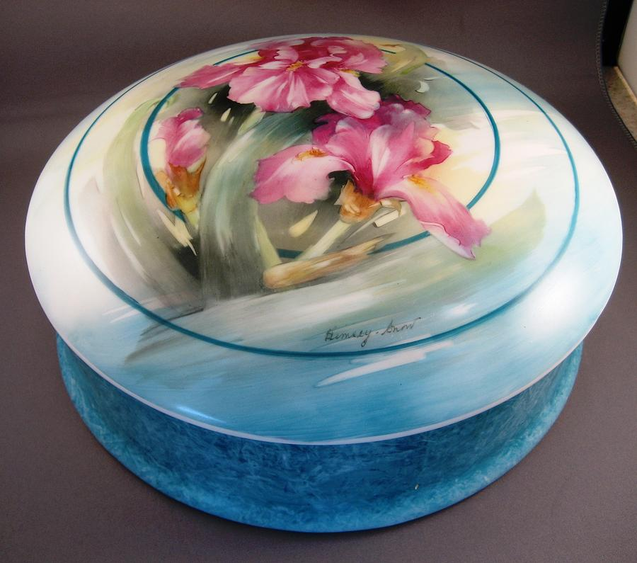 Porcelein Ceramic Art - 172 Chocolate Box Pink Irises by Wilma Manhardt