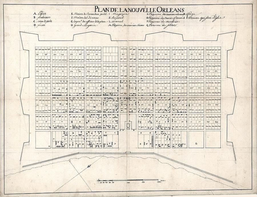 1722 Plan Of New Orleans, The Area That Photograph  - 1722 Plan Of New Orleans, The Area That Fine Art Print