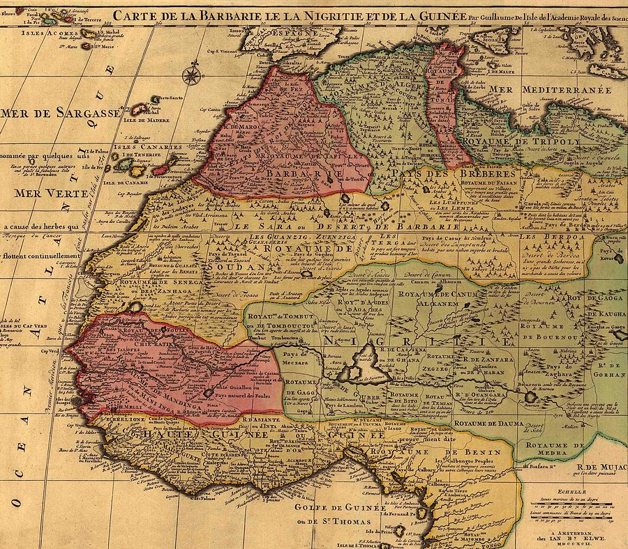 1742 French Map Of Northwest Africa Photograph