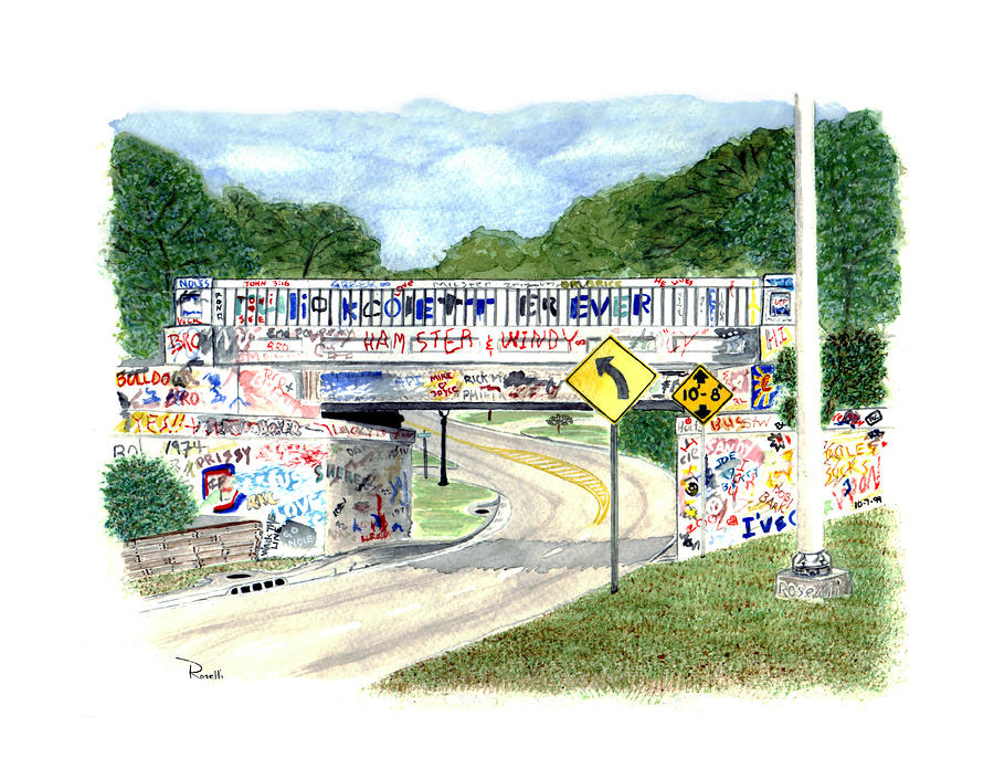 17th Avenue Graffiti Bridge Painting  - 17th Avenue Graffiti Bridge Fine Art Print
