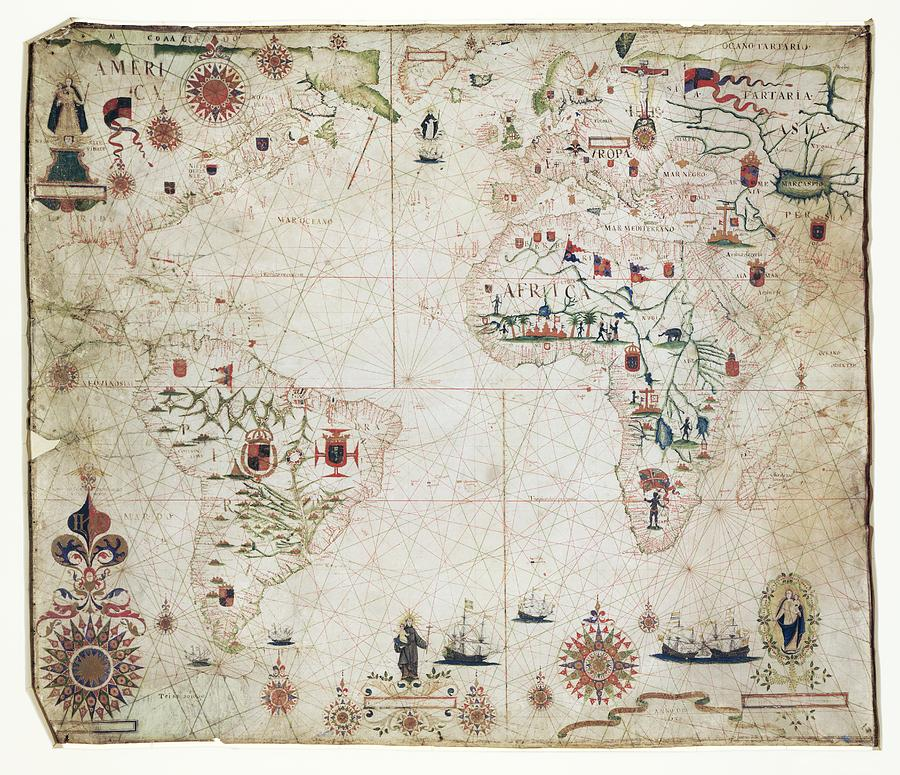 17th Century Nautical Map Of The Atlantic Photograph
