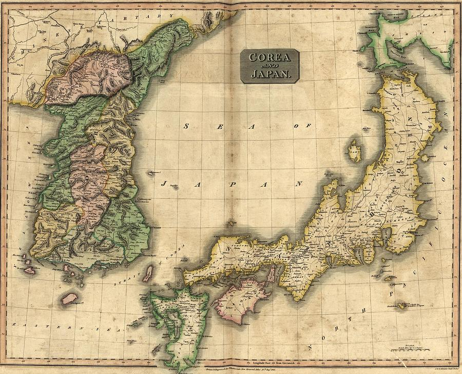 1815 Map Of Japan And Korea, Showing Photograph