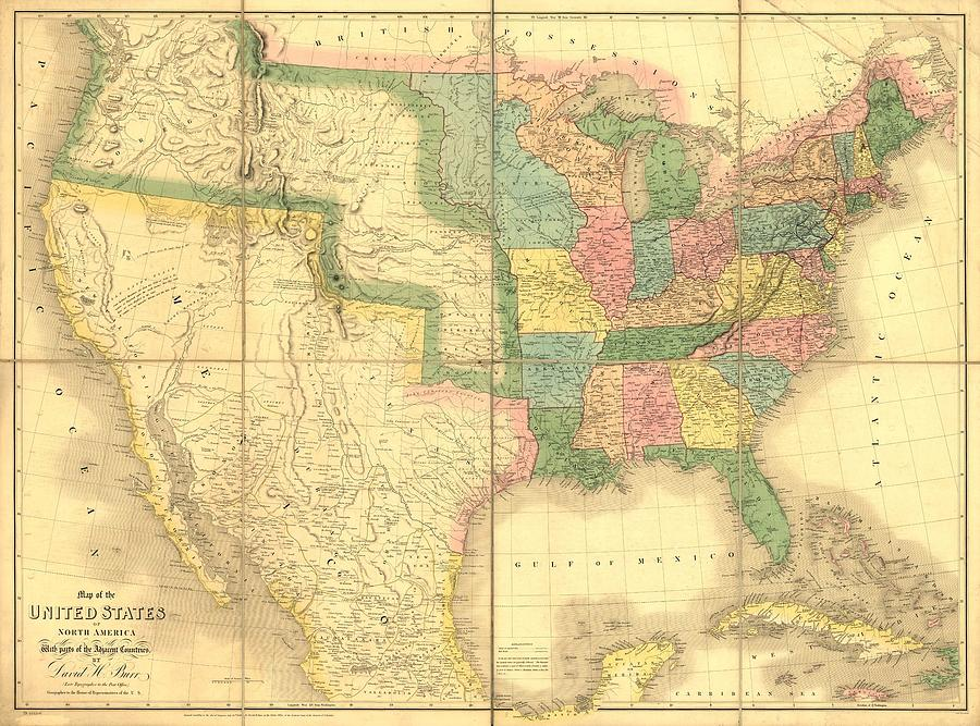 1839 Map Showing Us-mexican Boundary Photograph