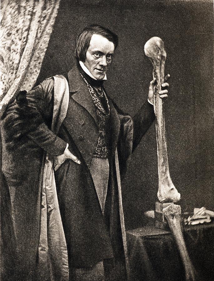 1846 Richard Owen And Moa Leg Fossil Photograph