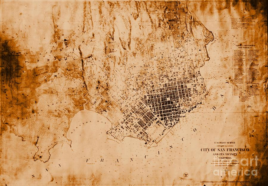 1859 Map Of San Francisco California Photograph  - 1859 Map Of San Francisco California Fine Art Print