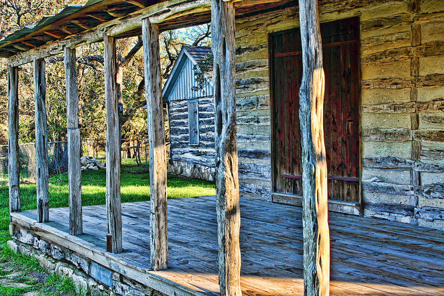 1860 Log Cabin Porch Photograph  - 1860 Log Cabin Porch Fine Art Print