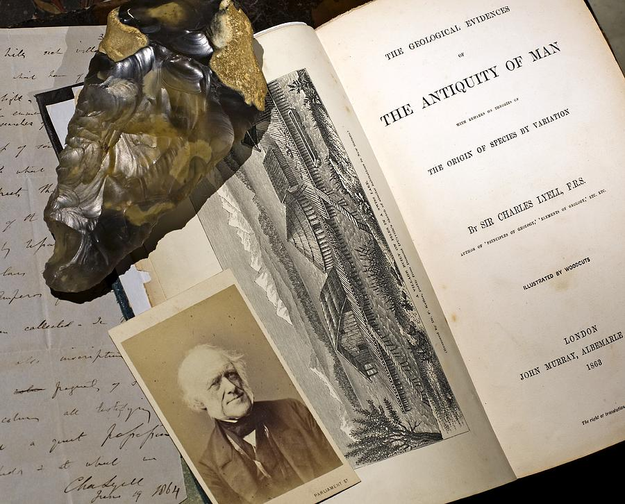 1863 Lyells Antiquity Of Man Desktop. Photograph