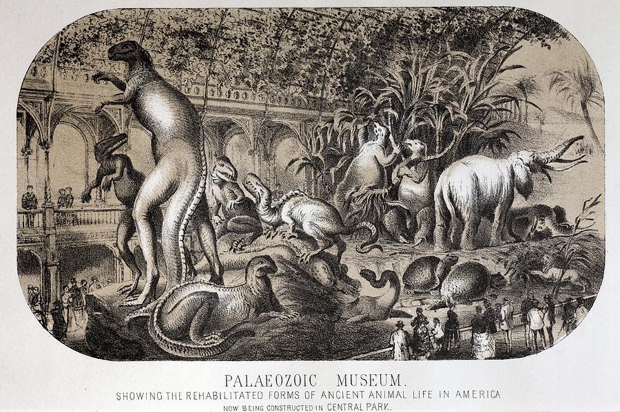 1869 Central Park Dinosaurs Hawkins Full Photograph